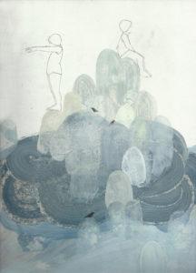 1- Brutal Imagination, 30x22 cm, olio, carboncino e grafite su carta, 2016